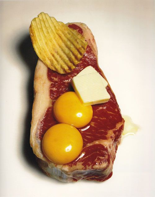 'Cholesterol's Revenge' by Irving Penn in Vogue, 1994. I remember clearly the first time I saw this as I flipped through my new Vogue - such a strong still life, so deliciously wrong. I instantly teared it out as inspiration for how food still life should be - tactile, striking, art.