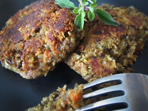 Lentil & Quinoa Breakfast Patties: these were so good!!! High in protein without any actual meat. Tasted just like gourmet breakfast sausage patties.