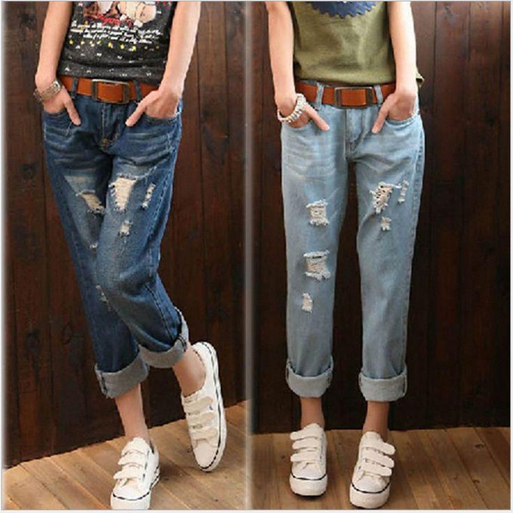 Картинки по запросу бойфренд джинсы разрез рваные без тары капри деним шаровары брюки женское свободного покроя джинсы