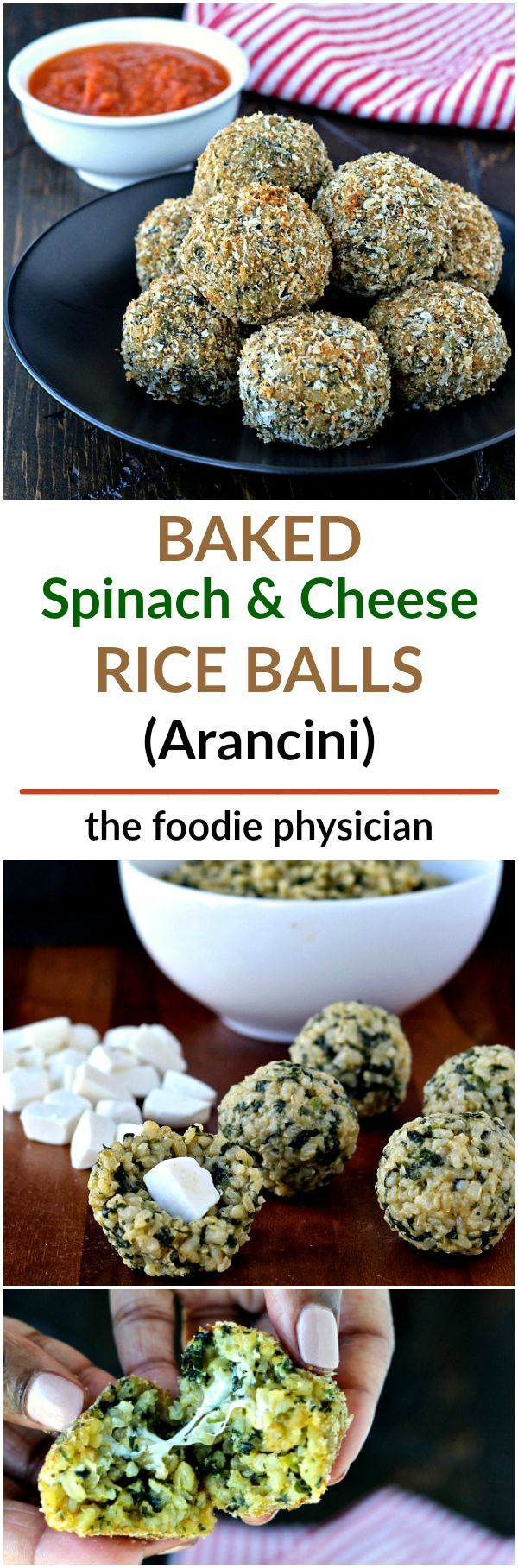 Baked Spinach and Cheese Rice Balls- these delicious rice balls are a healthy remake of classic Italian arancini.   @foodiephysician