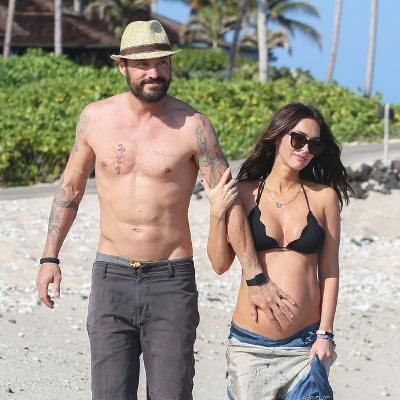 Hot: Bikini-Clad Megan Fox and Her Baby Bump Enjoy a Beach Stroll with Brian Austin Green