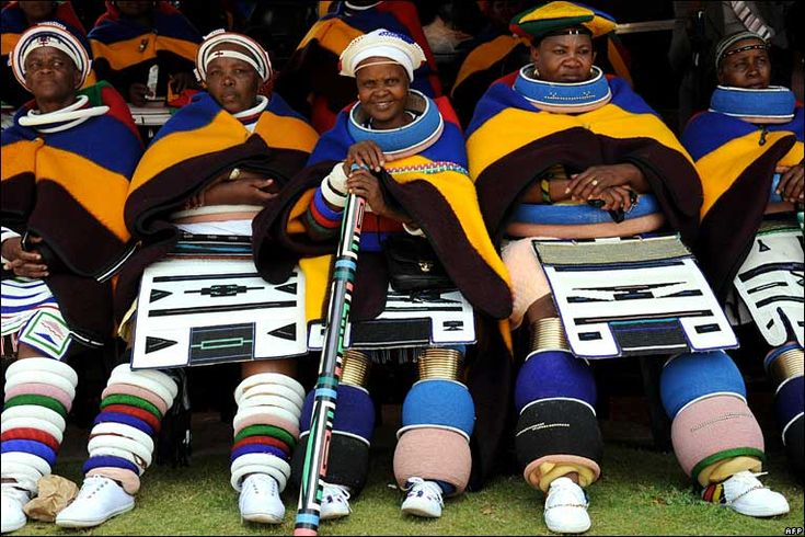 Africa | Ndebele women in South Africa in traditional costume photographed at Freedom Park in Pretoria in Nov 2006 at a gathering of traditional leaders to honour former president Nelson Mandela | Photographer unknown, via BBC website.