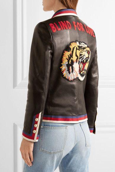 Gucci - Grosgrain-trimmed Appliquéd Leather Blazer - Black - IT36