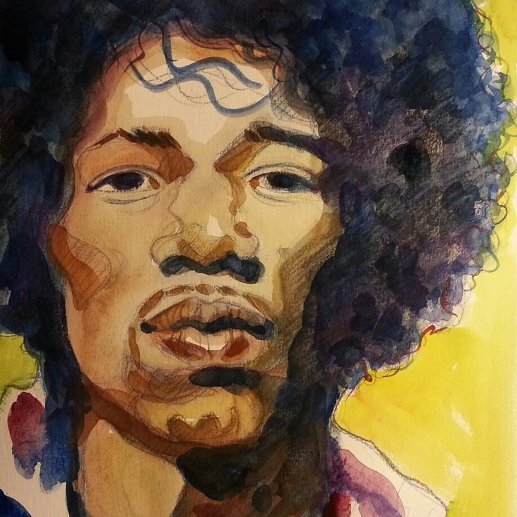 Jimi Hendrix. Watercolour and pencil.  By Maria Tomczak.