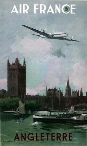 Affiche pub vintage Air France : Air France to London