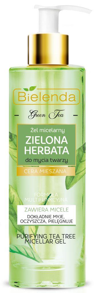 Gel micelar pentru curăţarea feţei cu ulei de tea tree.