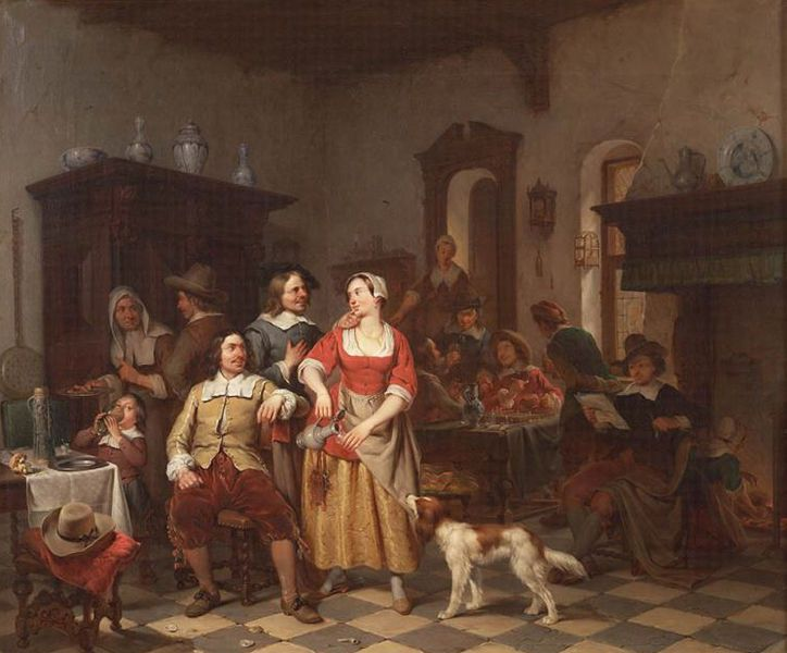 Jan Steen en Frans van Mieris in een herberg, Willem Pieter Hoevenaar, 1842