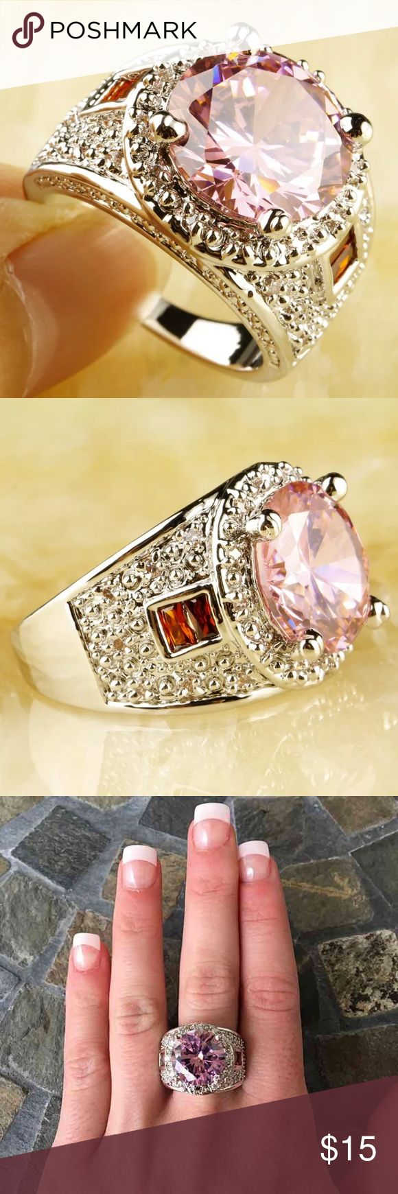 Round Pink/Red Gemstone Silver Cocktail Ring Huge round pink center stone with a hall setting Two small red emerald cut stones on either side  Thick silver design engraved band  FIRM PRICE/NO TRADES❗ Jewelry Rings