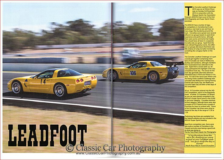 The Corvette Gazette (magazine by Covettes of Melbourne) included our story and photos about the 2013 Leadfoot Challenge in their Dec 2013 issue.  You can see our corresponding blog post at http://classiccarphotography.com.au/ccp-wp/corvette-leadfoot-challenge-2013-winton/