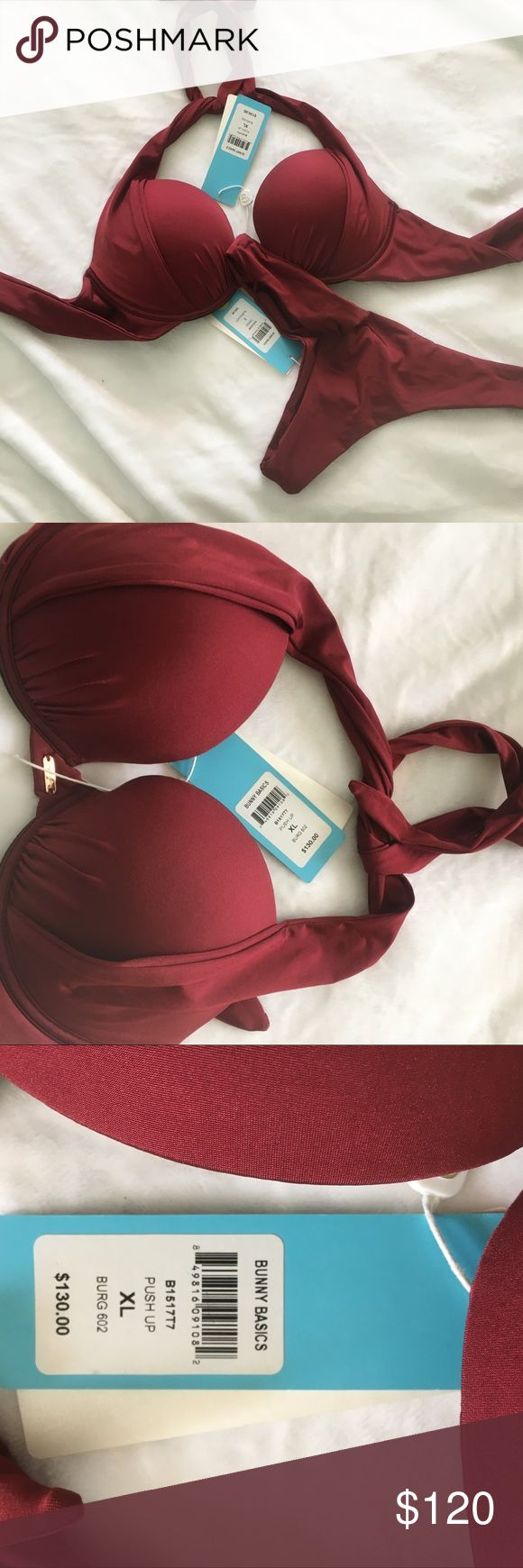 New Beach Bunny Bikini NEW WITH TAGS! Push Up Beach Bunny burgundy bikini! Fit is perfect! Adjustable top and large bottom! This is a steal! Originally $230 Beach Bunny Swim Bikinis