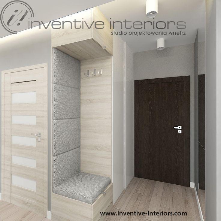 Projekt przedpokoju Inventive Interiors - tapicerowane siedzisko w zabudowie meblowej