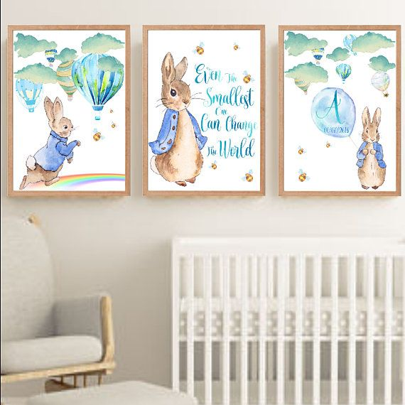 Framed Peter Rabbit And Hot Air Balloons Nursery Decor Wall Art Print Set Personalised Name Bunny Prints Boy Room Baby Shower Gift