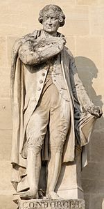 Statue du Marquis de Condorcet par Pierre Loisin, vers 1853. 1° statue du Pavillon Colbert au Pavillon Sully, cour Napoléon, palais du Louvre.- Les prestations de Concorcet le rendent suspect à la Convention, il se cache, arrêté en 1794, il s'empoisonne pour échapper à une condamnation. Son ouvrage capital est l'Esquisse d'un tableau historique des progrès de l'esprit humain, ouvrage composé entre 1793 et 1794, que la mort l'empêcha d'achever