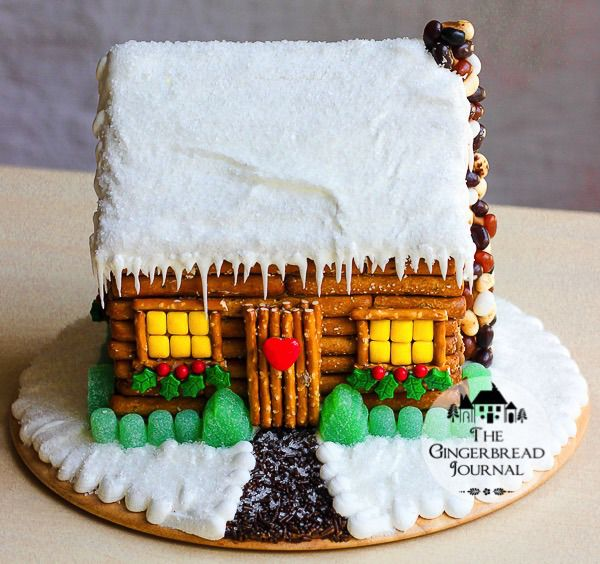 great gingerbread and pretzel cabin tutorial, no-bake so perfect for me, ha!!  www.gingerbreadjournal.com