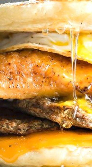 Fried Chicken and Sausage Breakfast Sandwich
