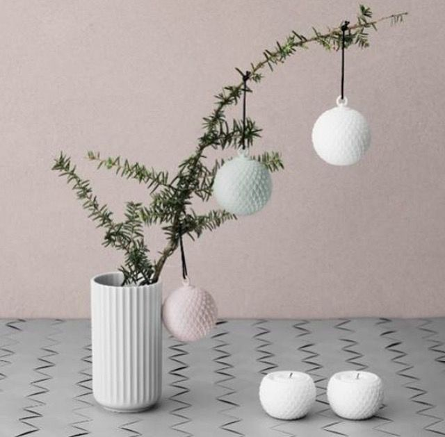 Lyngby Porcelæn's Christmas series of Christmas balls and candleholders