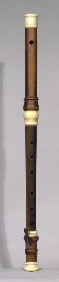 Traverse flute in C, by P.J. Bressan, London ca.1700. Instrument is made of boxwood, stained, with ivory mounts. In the general style of Rippert, Paris, of whom it is believed Bressan was an apprentice with. This instrument is in the possession of the Dayton C. Miller Collection, in Washington, D.C. http://hdl.loc.gov/loc.music/dcmflute.1207