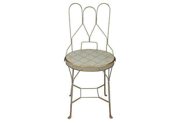 Folding Garden Chair, Blue/Gold on OneKingsLane.com