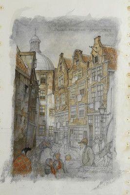Laatste werk. Anton Pieck overlijdt in '87 op 92-jarige leeftijd. Zijn laatste werk is een tekening van de Zwarte Bijlsteeg in Amsterdam, zoals die er rond 1900 uitzag. Hij heeft het niet meer kunnen afmaken.