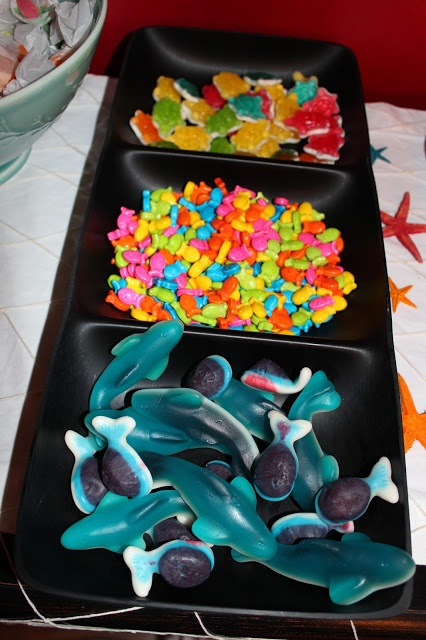 I'm liking the gummy sharks, etc, for our sea creatures bday party...