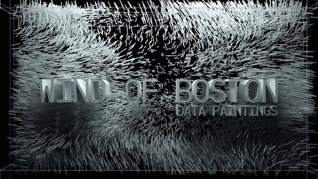 Wind of Boston: Data Paintings is a site-specific work that turns the invisible patterns of wind in and around Boston into a series of poetic data paintings within a 6' x 13' digital canvas.  By using a one-year data set collected from Boston Logan Airport, Refik Anadol Studios developed a series of custom software to read, analyze and visualize wind speed, direction, and gust patterns along with time and temperature at 20-second intervals throughout the year.  The resulting artwork is a…