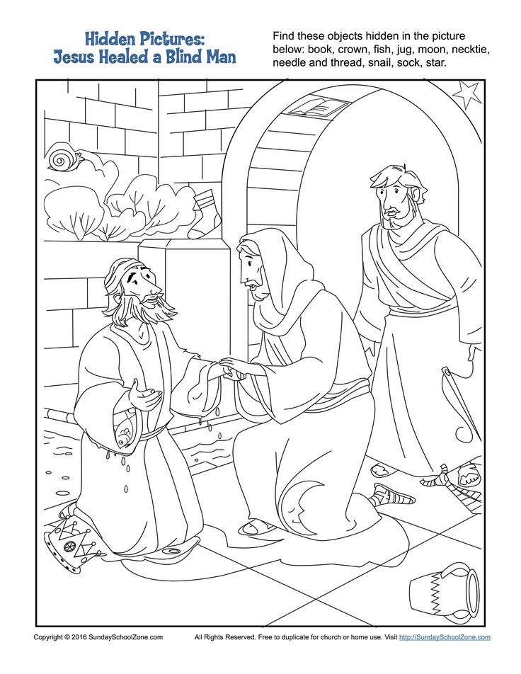 Jesus Healed a Man Born Blind Hidden Pictures Activity ...