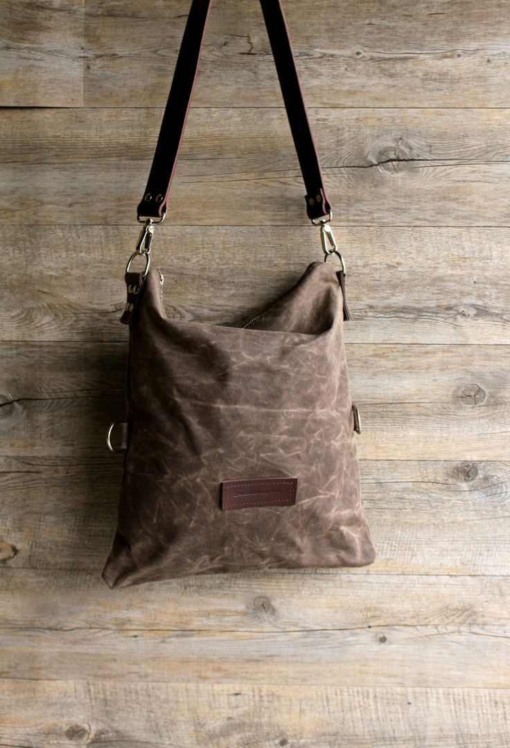 Waxed canvas bag - waxed cotton bag - hobo bag - bag in canvas - shoulder bag - gift for wife - St Valentine - gift for her - by Creazionidiangelina on Etsy