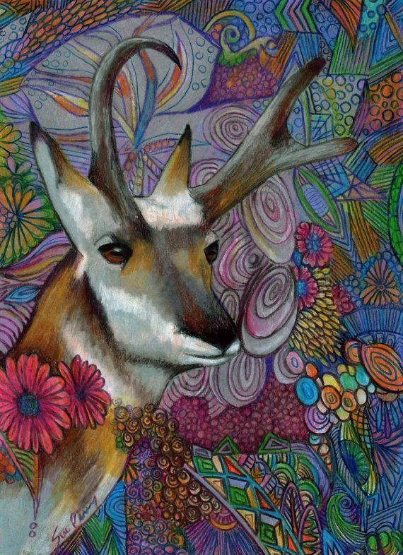 original art drawing color pencil antelope zentangle drawing framed and ready to hang