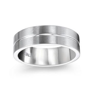 Engraved Matte Finish Wedding Band for Him, White Cobalt, 7mm