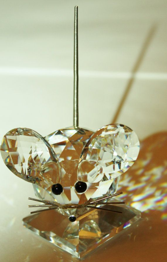 Vintage Swarovski Crystal Large Mouse Figurine 2 1/2 by patwatty, $70.00