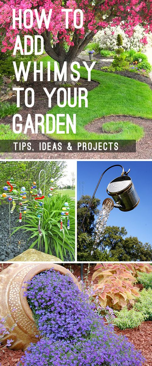Learn how to add whimsy to your garden with garden art, DIY garden projects and other great ideas and tips! #Whimsicalgarden #gardening #DIYgardenprojects #garden #gardenprojects