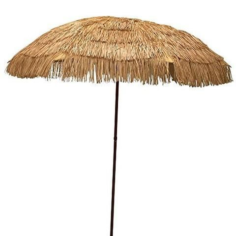 EasyGo   6.5u0027 Thatch Patio Tiki Umbrella   Tropical Palapa Raffia Tiki Hut  Hawaiian Hula