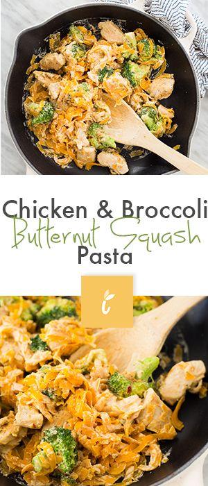 Chicken & Broccoli Butternut Squash Pasta (omit chicken or use the fake stuff for vegan!)