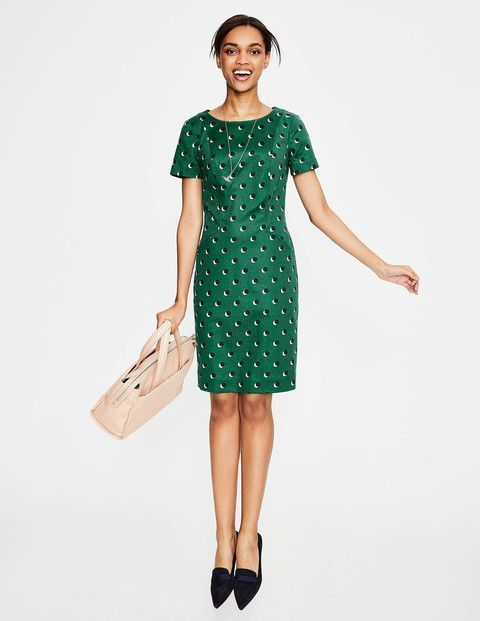 New Boden Boden W0077 Angela Textured Dress Sap Green Navy Shadow Uk