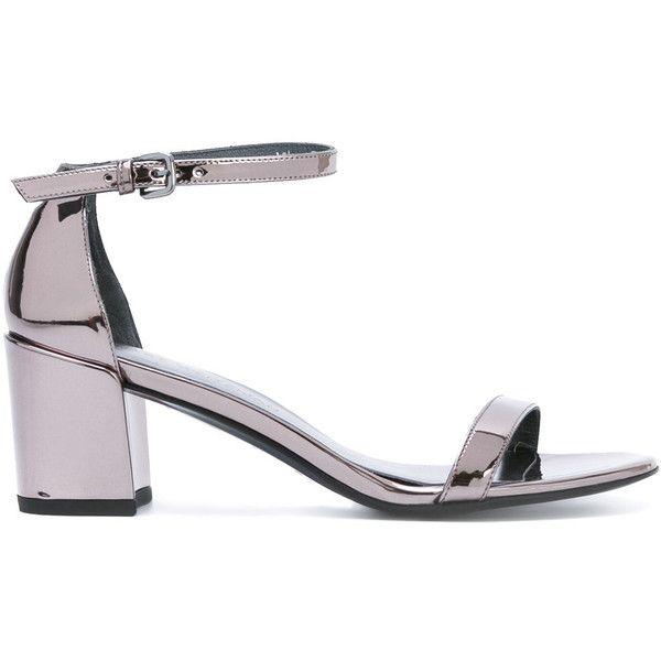 Stuart Weitzman mid heel sandals (18.425 RUB) ❤ liked on Polyvore featuring shoes, sandals, grey, metallic grey shoes, heeled sandals, metallic sandals, grey heeled sandals and stuart weitzman