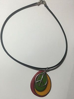 Rasta Red Green Yellow Black Silver Peace Sign Tagua Nut Necklace 18""