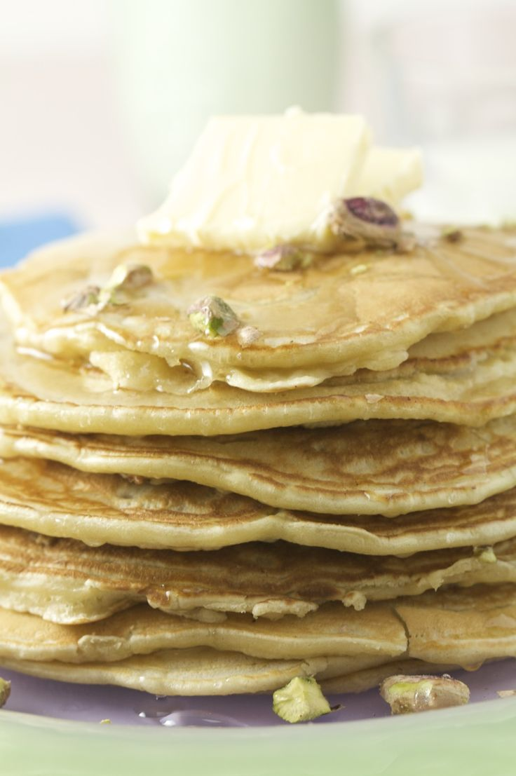 Cardamom Pancakes with Orange Blossom Syrup & Pistachios from dirtykitchensecrets