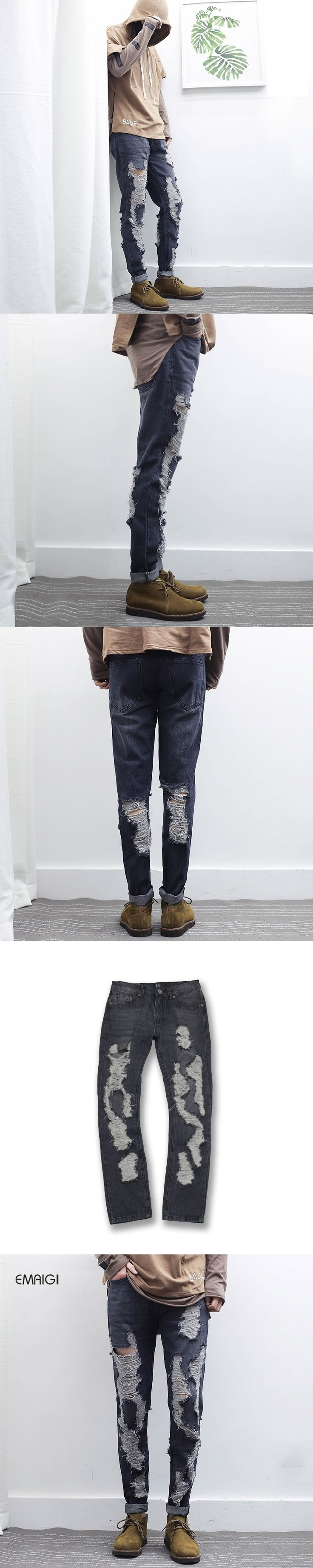 2017 New Male Hole Metrosexual Straight Destroyed Jeans Casual Ripped Jeans Homme Retro Men's Denim Trousers