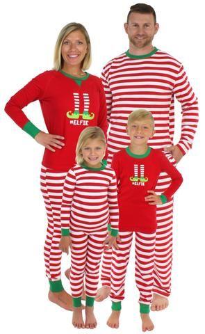 2ce1c79e486c Christmas Family Matching Red Striped Elf Pajama PJ Sets