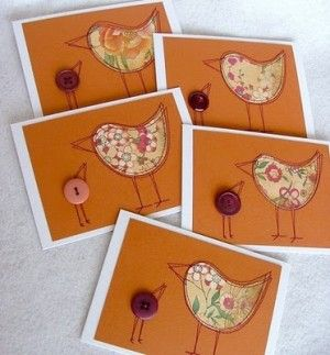 handmade notecard set ... machine sewn lines ... button bird and clothe bird ... clean and simple design ... like them!!
