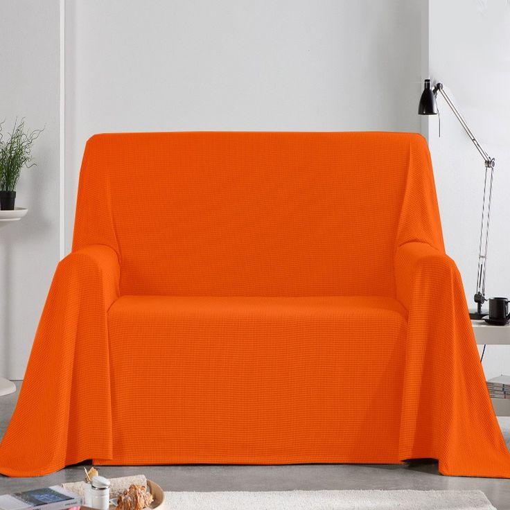 Fundas Foulard de Sofá Naranja, funda perfecta para cubrir sofás de 1 plaza, 2 plazas y 3 plazas de forma fácil y sencilla, tejido rústico con color liso para decorar el sofá del salón.