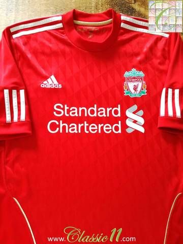 ff38980a04f Official Adidas Liverpool home football shirt from the 2010 11 season.