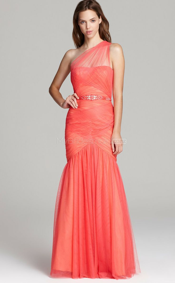Ruby Mermaid Floor-length Tulle One Shoulder Ball Dresses(JT175)
