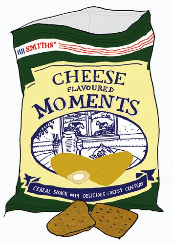 """https://flic.kr/p/6zNmTv   Cheese Flavoured Moments   Cheese Flavoured Moments are a British snack product made by Walkers under the Smiths brand name. They are part of the luxury small-bagged """"Savoury Selection"""" range which also includes Bacon Flavour Fries and Scampi Flavour Fries. These are some of the only snack products to still be sold using the Smiths brand name. The other products are Chipsticks and Frazzles. They also use the slogan """"Bite Sized Snacks with the Big Siz..."""
