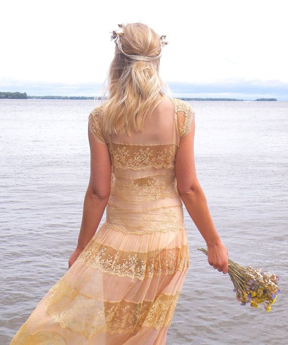 jaren 1920 jurk, 20s Lace Dress, Blush & Cream 20s Bohemian trouwjurk XS - S