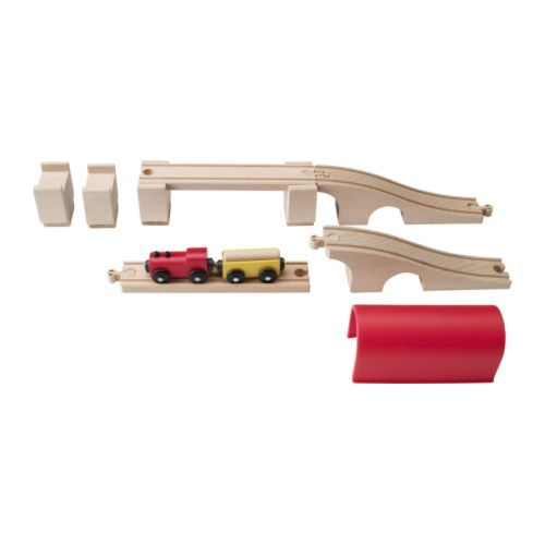 IKEA - LILLABO, 12-piece train set,  ,  , , Your child will have fun combining the pieces to make different track formations. The total track length is 2.7 feet.Can be used with most other railway systems on the market.Develops fine motor skills and logical thinking.