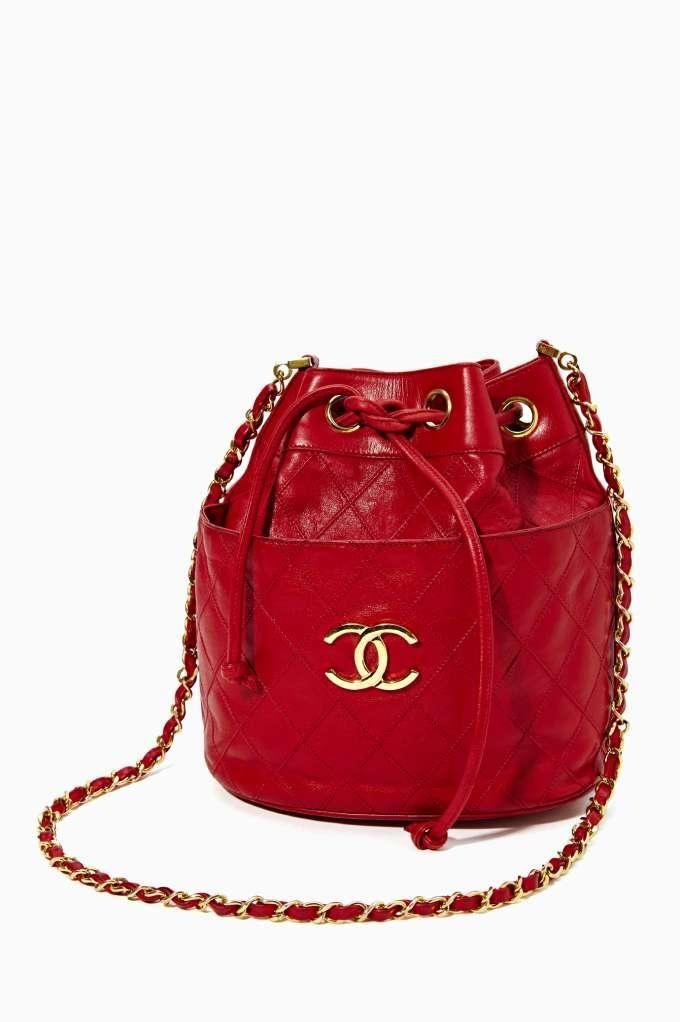 Vintage Chanel Red Leather Bucket Bag