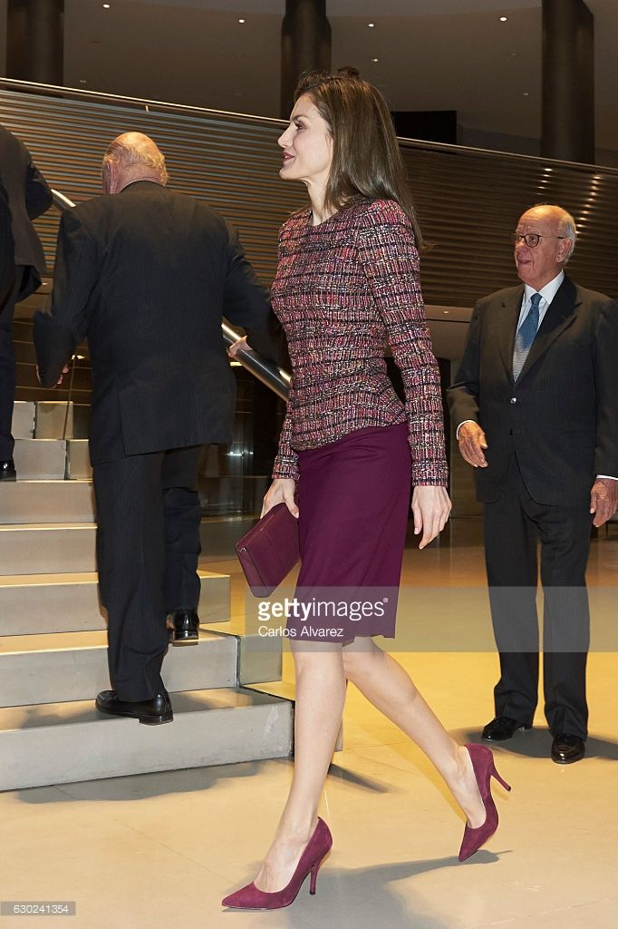 Queen Letizia of Spain meets FAD (Foundation Against Drug Addiction) Foundation at Santander Bank on December 19, 2016 in Madrid, Spain.  (Photo by Carlos Alvarez/Getty Images)