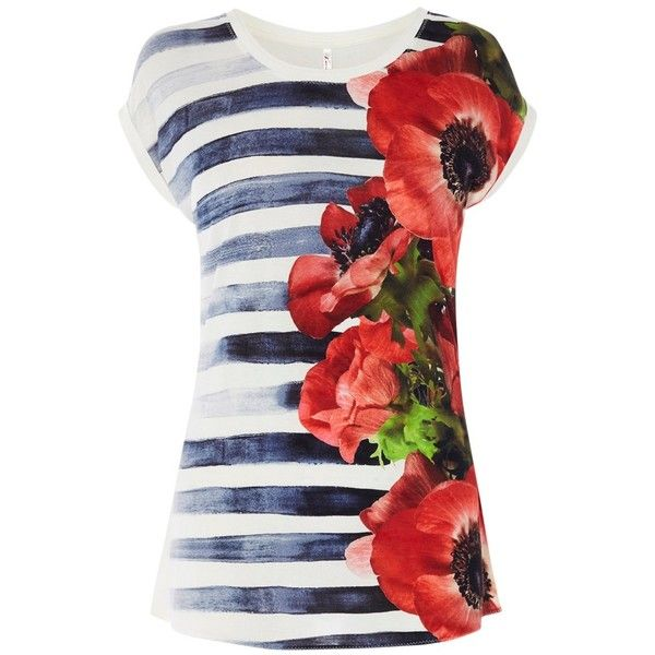 Karen Millen Hand Painted Floral Breton T-Shirt, Multicolour ($79) ❤ liked on Polyvore featuring tops, t-shirts, floral print tops, roll sleeve t shirt, slim t shirts, short sleeve tops and print t shirts