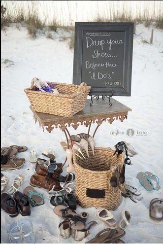 Great idea for a #beachwedding #shoes